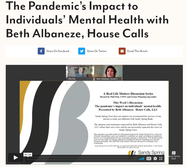 Sandy Spring Pandemic Interview with Beth Albaneze